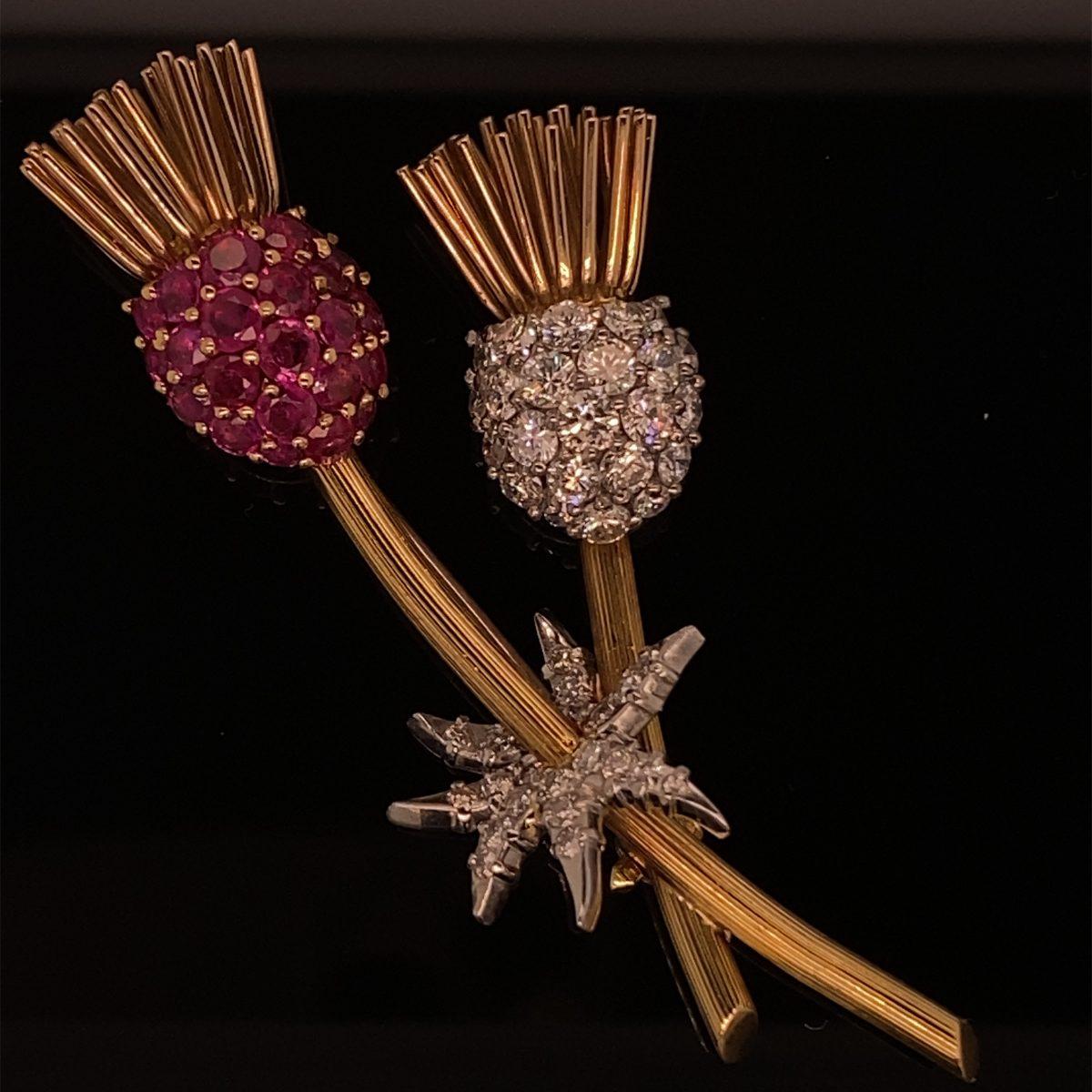 Kutchinsky ruby and diamond 'Thistle' brooch