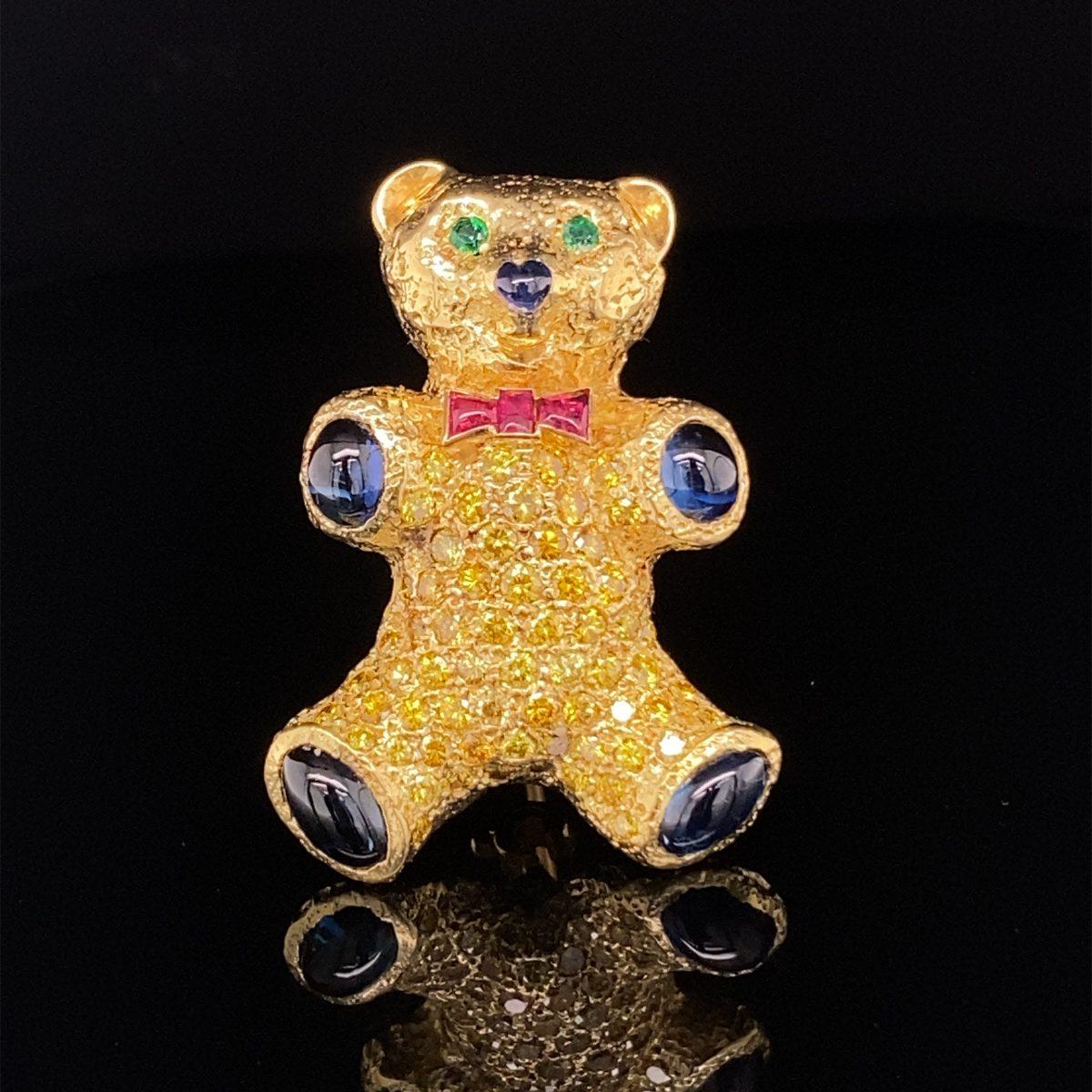 Yellow diamond, 'Teddy Bear' brooch