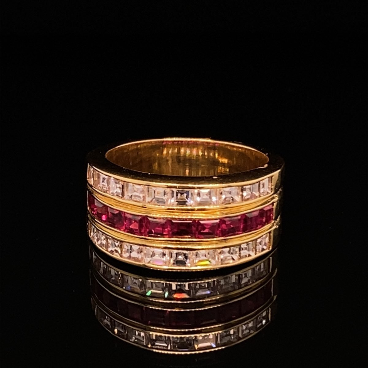 Ruby and diamond three row dress ring
