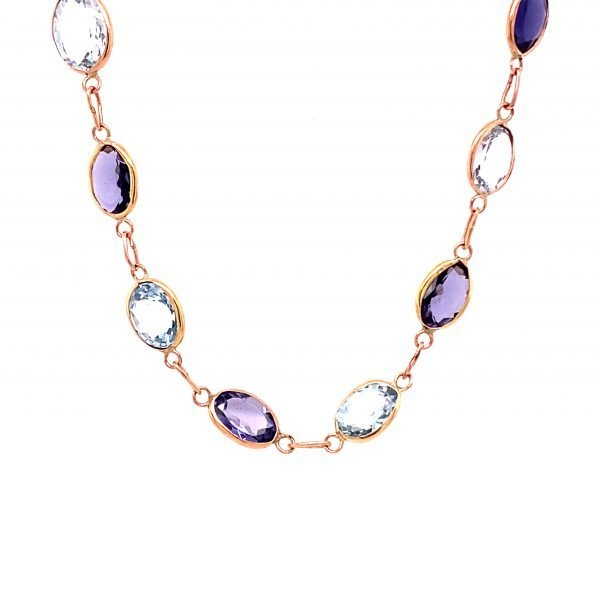 Aquamarine and iolite rose gold necklet