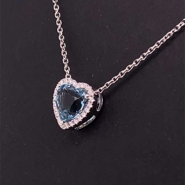 Aquamarine and diamond heart shaped cluster pendant and chain