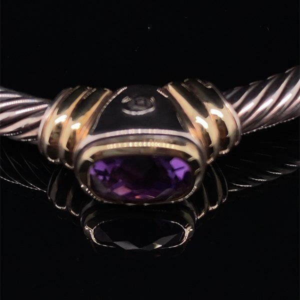 Amethyst silver and gold torque bangle