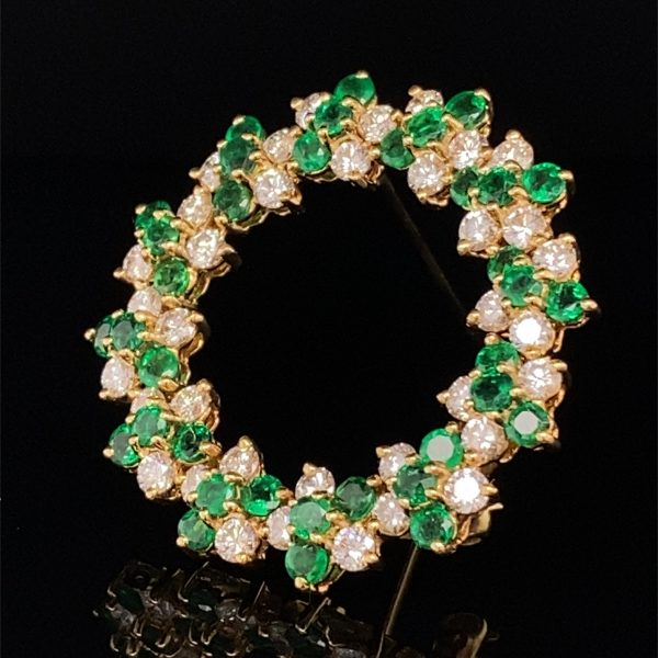 Tiffany and Co emerald and diamond brooch
