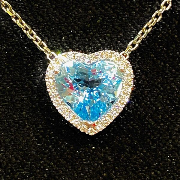 Aquamarine Heart and Diamond Cluster Pendant