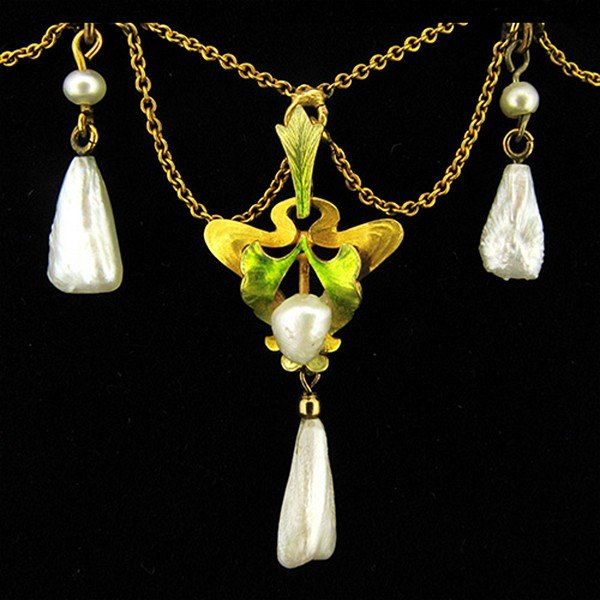 Art Nouveau enamel and freshwater pearl swag necklace