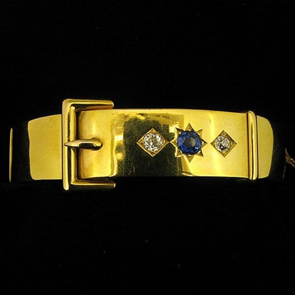 Victorian hinged buckle bangle with sapphire and diamonds