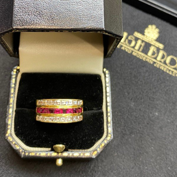 Ruby and Diamond Three Row Dress Ring