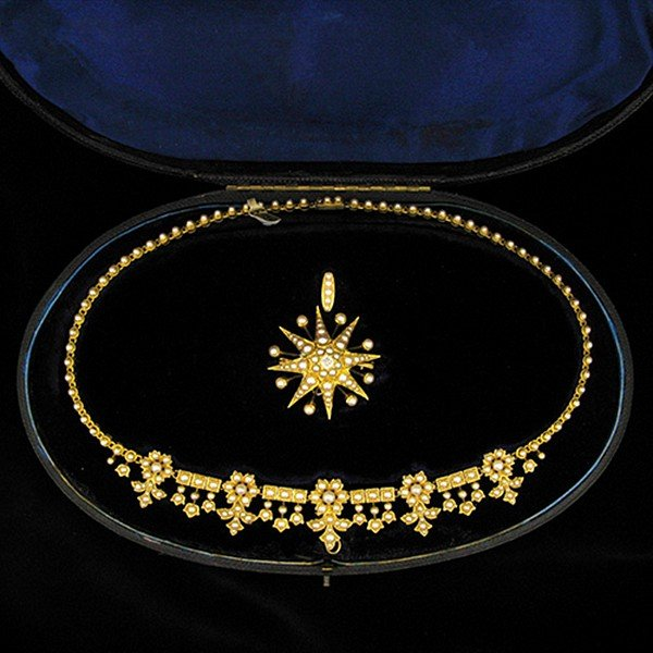 Victorian Natural Pearl Necklace, Pendant and Brooch Set in Original Box