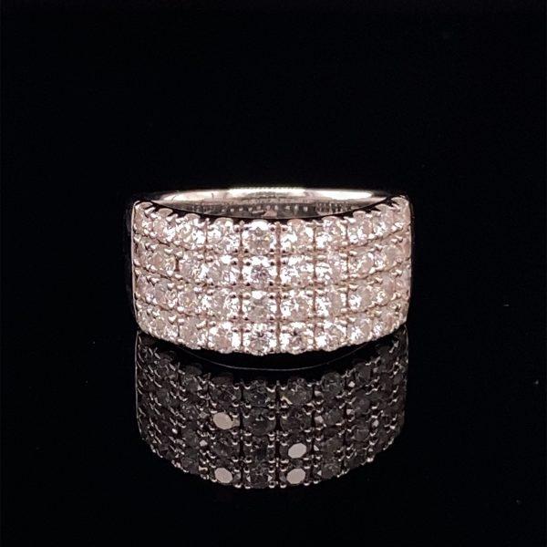Diamond four row ring
