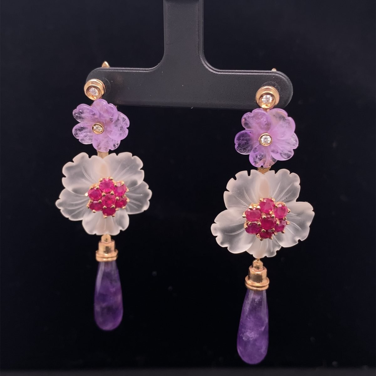 Amethyst, ruby, diamond and rock crystal earrings