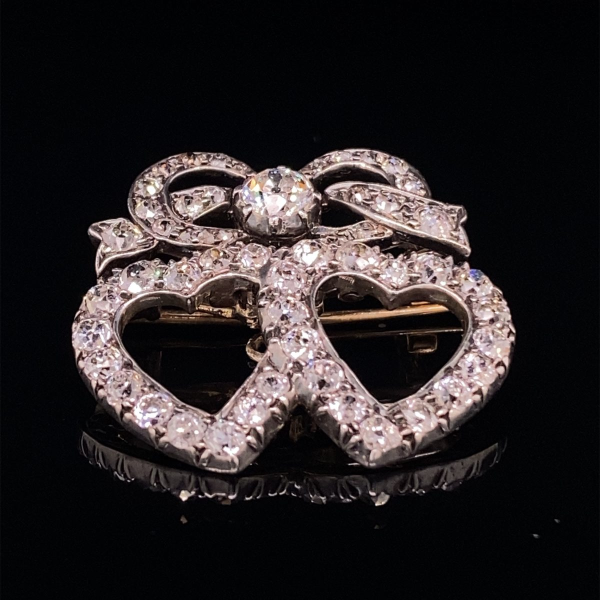 Victorian diamond 'Lovers Entwined Hearts' brooch