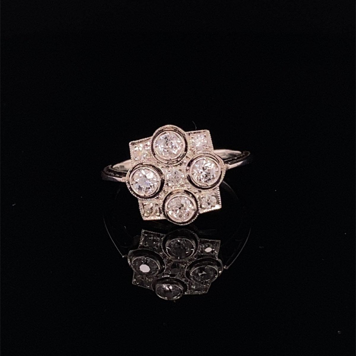 Art Deco geometric diamond ring