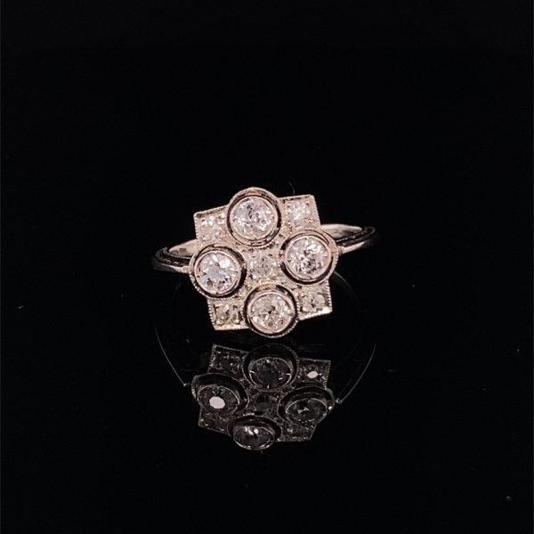 Art Deco geometric diamond ring