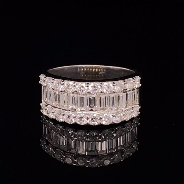 Diamond three row ring