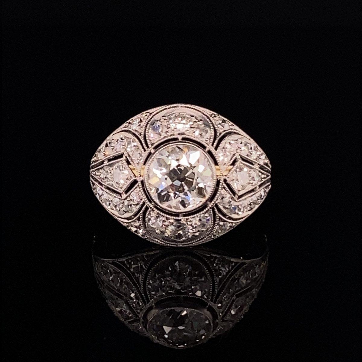 Art Deco diamond 'Bombe' ring