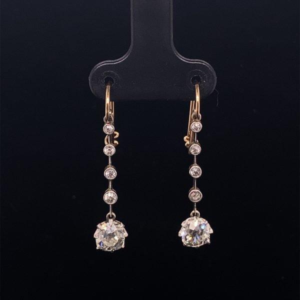 Victorian diamond five stone drop earrings
