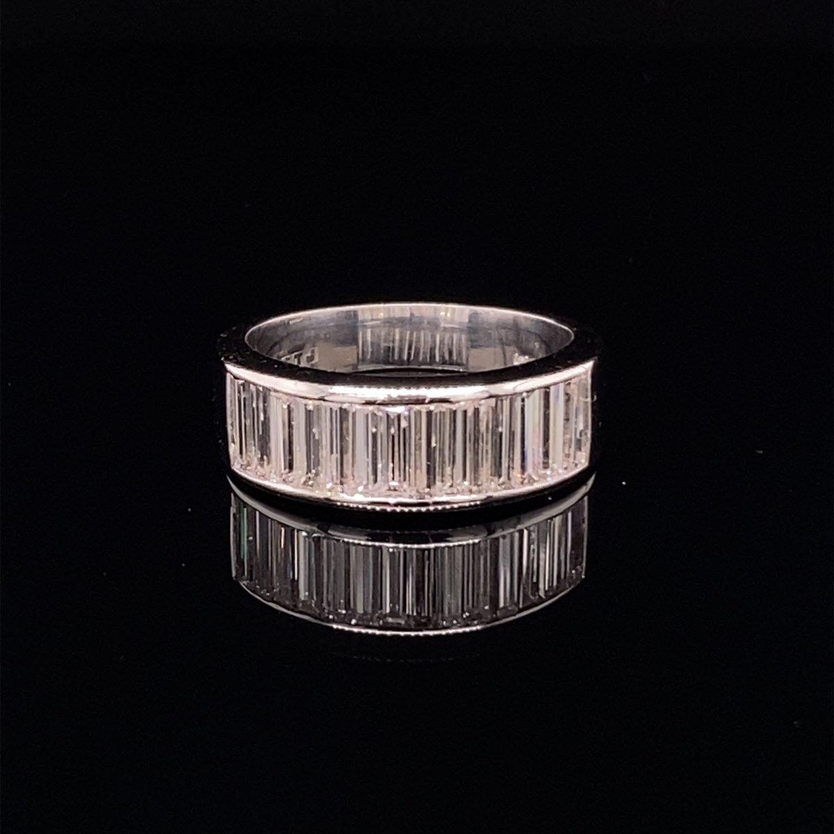 Diamond baguette cut half eternity ring