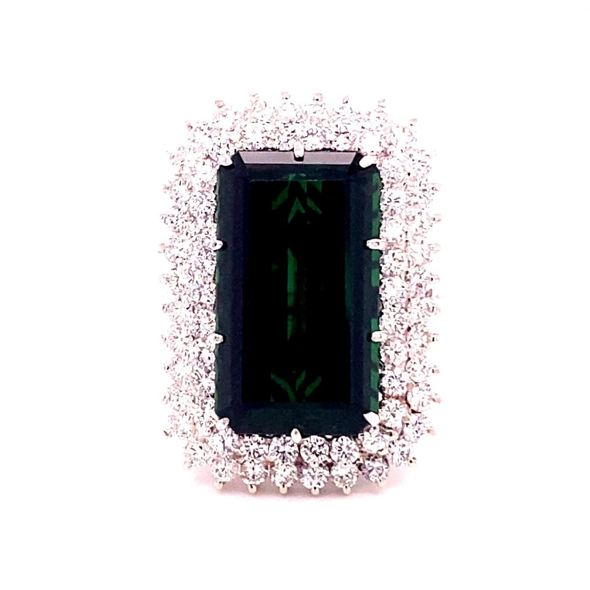 Tourmaline and diamond cocktail ring