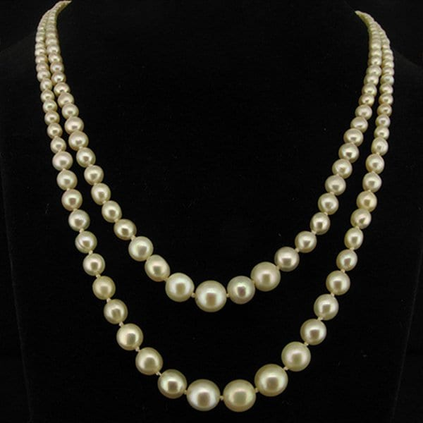 Two Row Natural Pearl Necklace