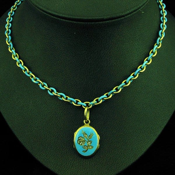 Victorian Turquoise Enameled Locket and Chain