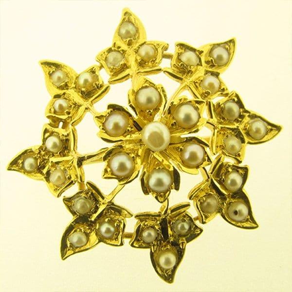 Victorian Seed Pearl Brooch / Pendant Flower