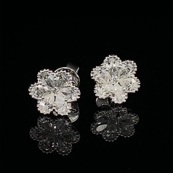 Diamond flower studs