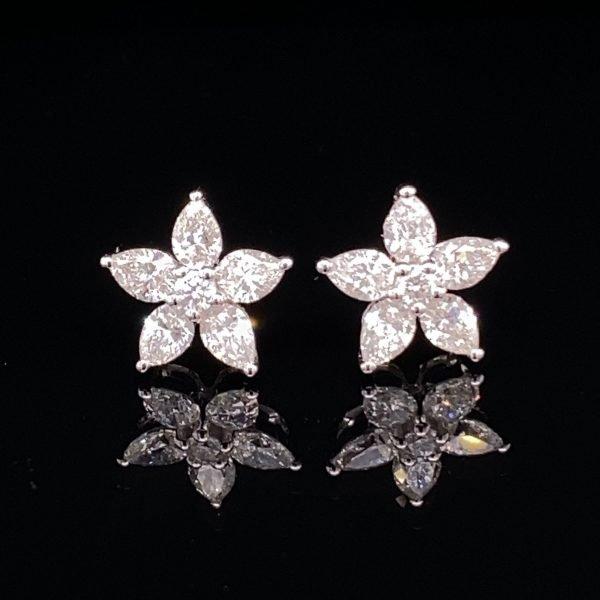 Marquise flower earrings
