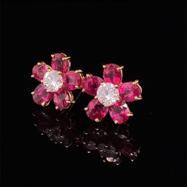 Ruby and diamond flower cluster earrings