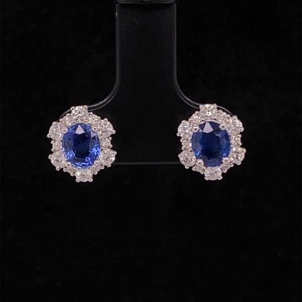 Sapphire and diamond detailed cluster earrings