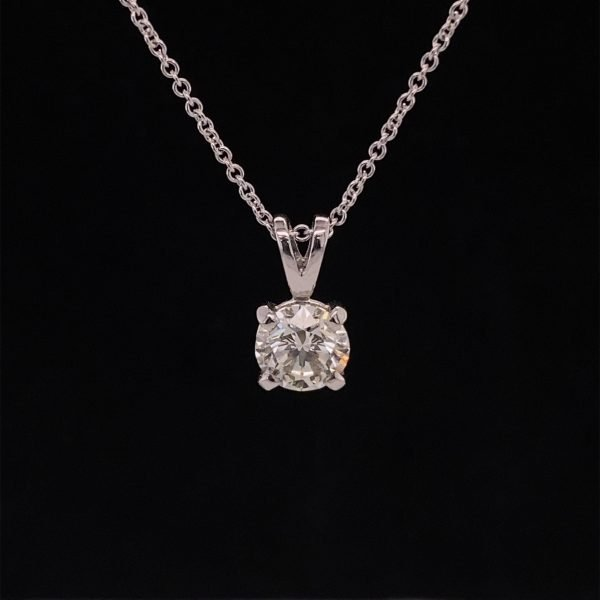Diamond solitaire pendant and chain