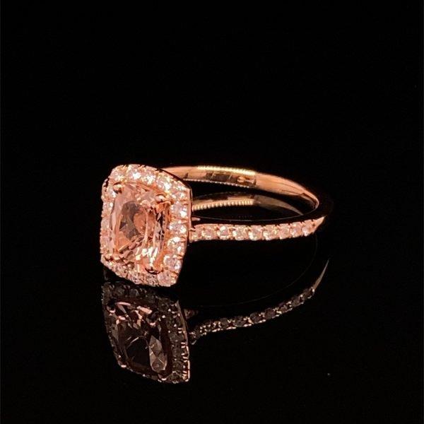 Morganite and diamond cluster ring