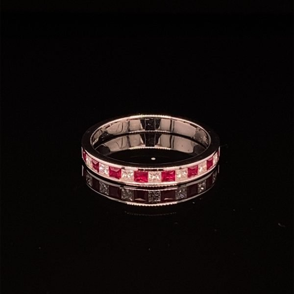 Ruby and diamond half eternity ring