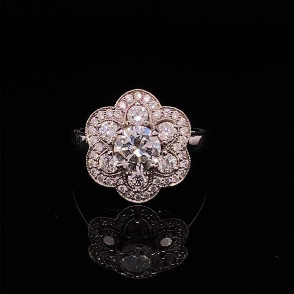 Flower diamond cluster ring