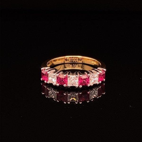 Ruby and diamond seven stone, half eternity ring