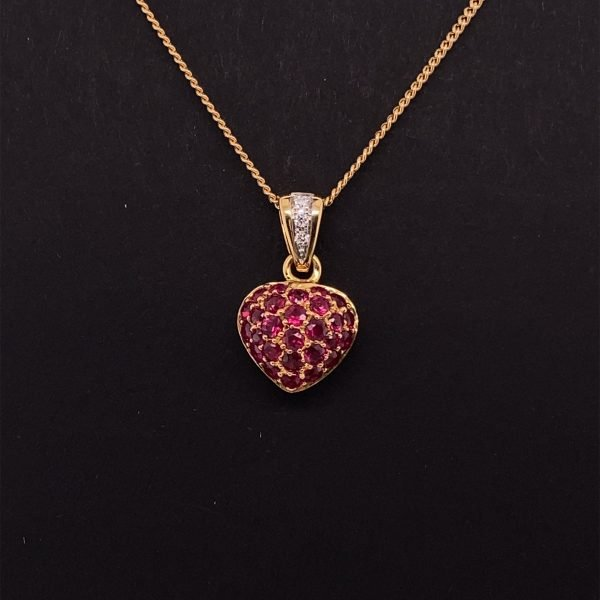 Ruby pave set heart pendant and chain