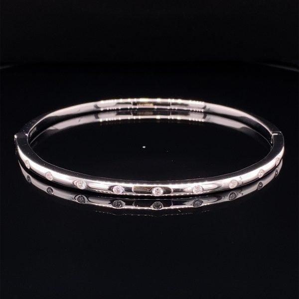 18ct white gold diamond set bangle