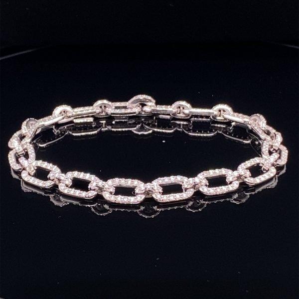 Diamond set link bracelet