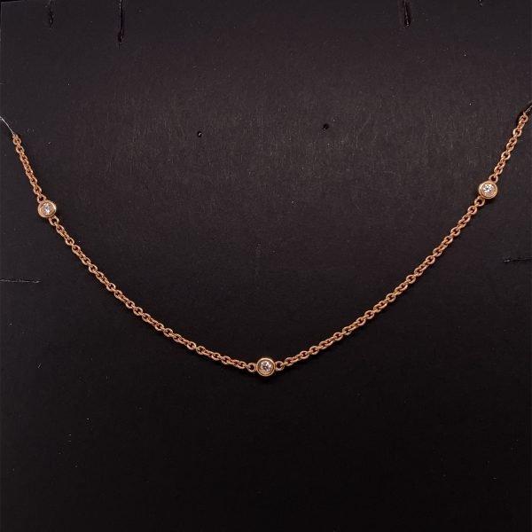 Diamond set gold chain