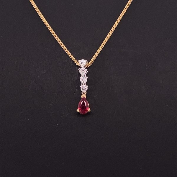 Ruby and diamond drop pendant and chain