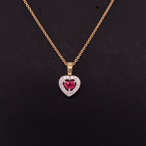 Ruby and diamond heart pendant with chain
