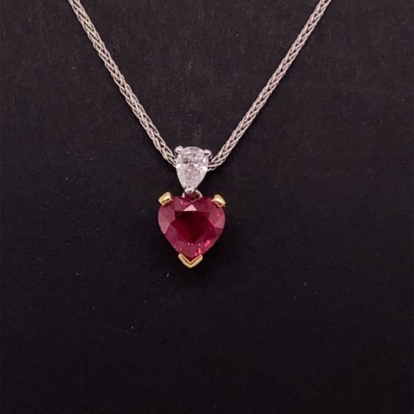 Ruby heart and diamond pendant with chain