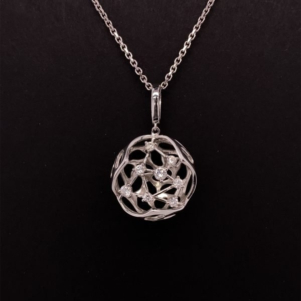 Modern, contemporary diamond set pendant