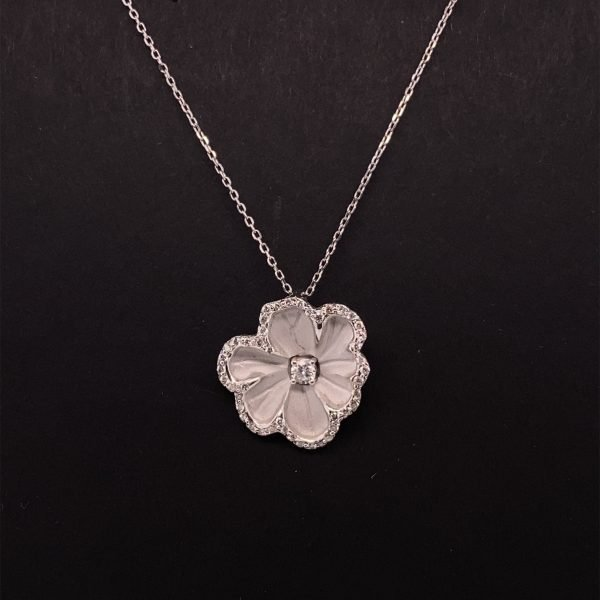 Diamond flower pendant and chain