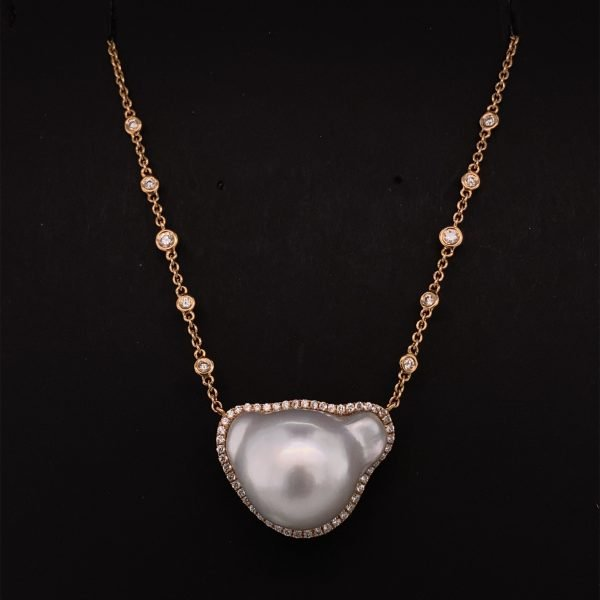 Baroque South Sea pearl and diamond necklace