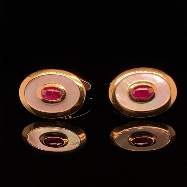 Ruby and mother of pearl cufflinks