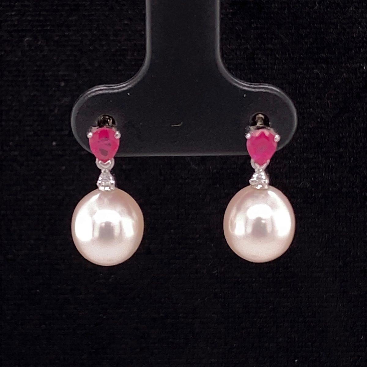 Pearl and ruby drop earrings
