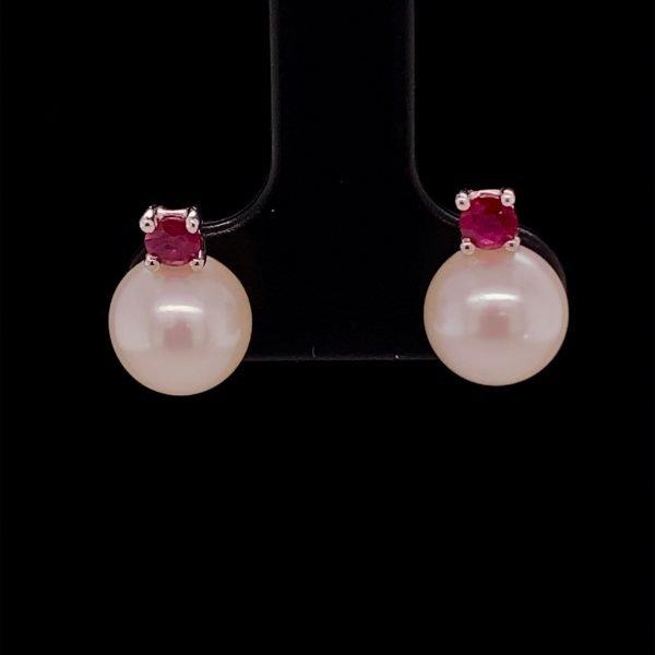 Pearl and ruby stud earrings