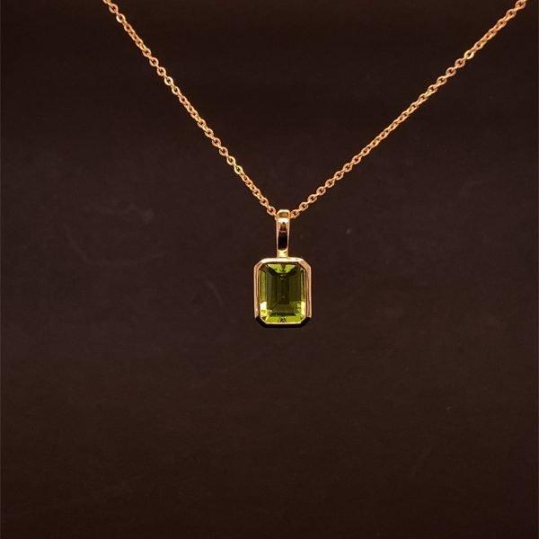 Peridot pendant and chain