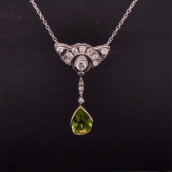 Peridot and diamond necklet