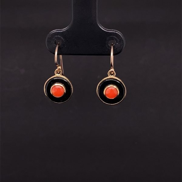 Coral and onyx disc drop earrings